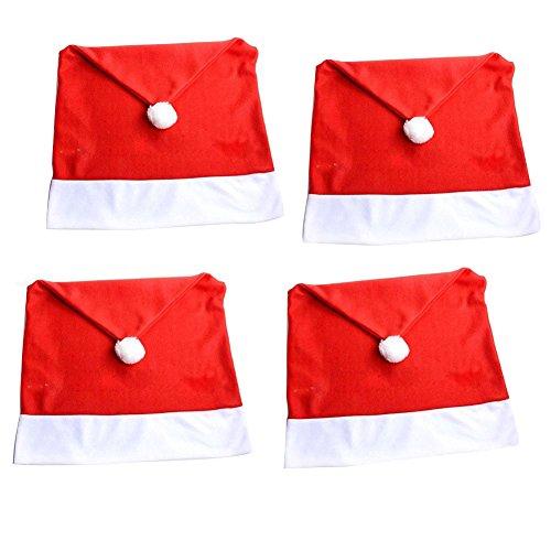 DegGod 4 pc Babbo Natale cappello rosso coprisedie Copri Sedie pupazzo Decorazione natalizia Natale Cena Tavolo da Pranzo Decor