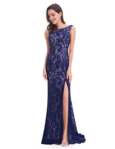 Ever-pretty elegante abito da sposa da donna in pizzo lungo a coda di pesce blu navy 46eu