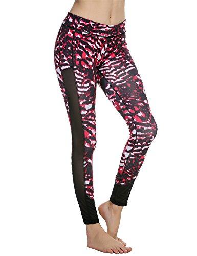 Spandex Leggings Footless Tights (Ekouaer Enganliegende Sportleggins, Damen, Yoga/ Workout/ Laufhose Gr. XL, Red Black Mesh)