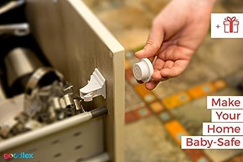 ➡️️Ensemble de Verrous Magnétiques Goodlex Premium pour Enfants - Baby Proof Verrou Sécurisé Pour Placards, Tiroirs & Armoires – Ne Nécessite Aucuns Outils ou Perçage - Installation Facile avec Ruban Autocollant 3M - 4 Verrous + 1 Pack Clé