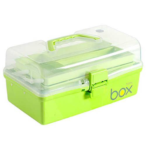 CJH Famille Boîte à pharmacie à trois niveaux Trousse de premiers soins Plastique Pliable Coffre à médecine Grand ménage Petite boîte de rangement Multi-couche boîte médicale (Color : Green)