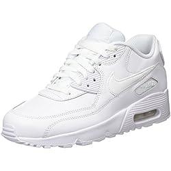 Nike Air MAX 90 Leather, Zapatillas de Running para Niños, Blanco White, 37 1/2 EU