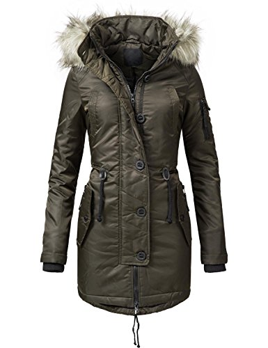 Peak Time Damen Mantel Wintermantel L62081 Grün Gr. M Long Down Parka