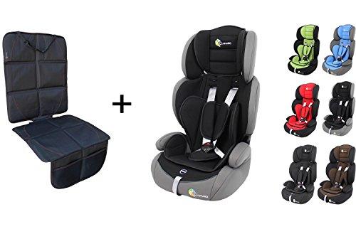 Clamaro 'Guardian Set' Kinderautositz 9-36 kg inkl. Autositzschoner, Kopfstütze verstellbar mitwachsend, Auto Kindersitz für Kinder von 1-12 Jahre, Gruppe 1/2/3, ECE R44/04, Farbe: Grau Schwarz