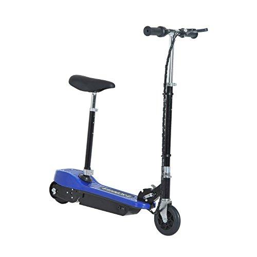 homcom Monopattino Scooter Elettrico con Sella 120W per Bambini Pieghevole in Metallo e PE, 78 x 40 x 96cm, Blu
