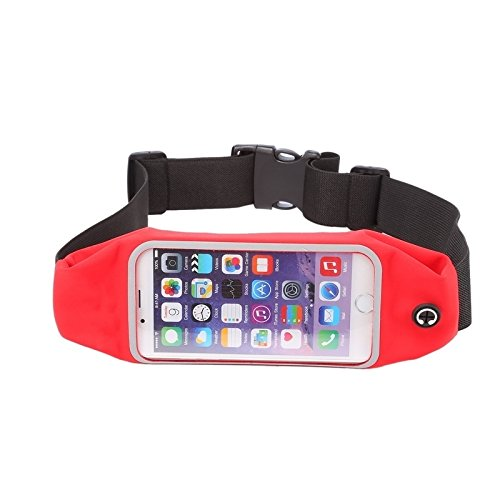Wkae Case & Cover Imperméable sport sac de taille Pochette Earphone Trou pour iPhone 6 Plus &6s plus ( Color : Pink ) Red