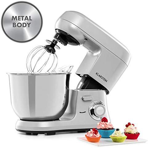 Klarstein Bella Robusta Metal - Robot culinaire multifonctions, Mélangeur planétaire, 1200 watts, 6 vitesses, Bol mélangeur de 5,5 litres, 3 accessoires, Argent