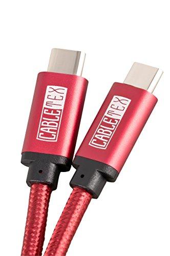 Usb 20 Mobile Festplatte (USB C Kabel auf USB 3.1 Typ C 2 Meter Ladekabel Nylon Textilkabel Datenkabel für USB 3.0 Computer und Smartphones Galaxy S8, S8+, OnePlus 2, OP 3, HTC 10, MacBook Pro und viele mehr - ROT)