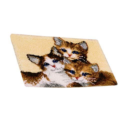 Sharplace Knüpfset Teppich Erwachsene, Groß Knüpfteppich zum Selberknüpfen 80x50 cm, Teppich Latch Hook Kit für Kinder und Anfänger - Katze