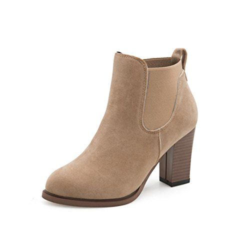 feiXIANG Stivali Donna Autunno inverno stivali quadrato alto tacco stivaletti abkle nodo scarpe invernali-camoscio+plastica (39, khaki)