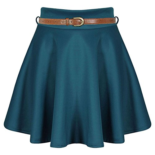 Islander Fashions Womens Belted Mini Skater Gonna Ladies Plain Flared Skater Swing Party Skirt Piccolo / XX-Large Teal