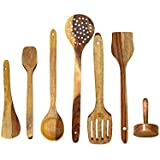 PEBBLE CRAFTS Handmade Wooden Cooking Spoons And Serving Spoon Set Of 6 With Free Masher | Non Stick Kitchen Utensil