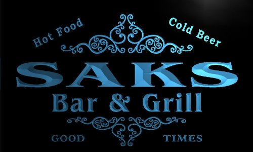 u38977-b-saks-family-name-bar-grill-home-brew-beer-neon-sign-barlicht-neonlicht-lichtwerbung