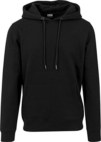 Urban Classics Herren Kapuzenpullover Basic Sweat Hoodie, einfarbiger Kapuzensweater mit Känguru Tasche, Kapuze verstellbar - Farbe black, Größe L (Hoodie Basic)