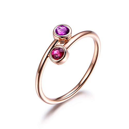 DOLOVE Schmuck Ringe Damen Ring 925 Sterling Silber Ringe Amethyst Rund Verlobungsring mit Gravur Ringe Jahrestag Rosegold Größe 61 (19.4)