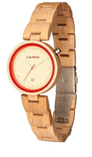LAiMER 0055 - NICKY ROSSO, Orologio analogico da polso al quarzo, con cinturino in legno d'Acero chiaro, donna