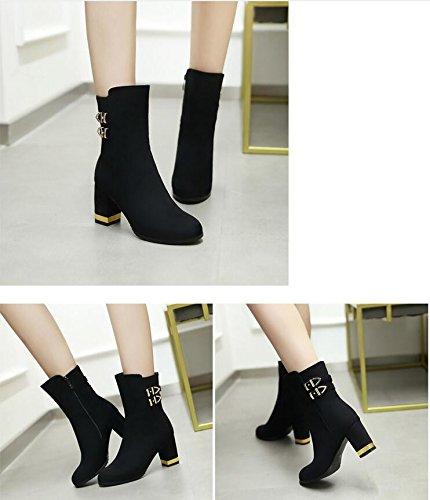 ZQ circolare numeri e di breve scarpe donna scarpe e con testa alti versatile inverno di QXIn autunno grandi tacchi i a e spessore con Black da elegante A1rwYAq
