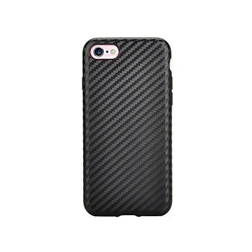 Trendcell TPU Silikon Schutzhülle Hülle für iPhone 8 - iPhone 7 in Carbon Optik gold schwarz
