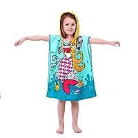 VSTON Kid Beach Towel Swimming Bath Hooded Towel Poncho Towel Microfiber Kid