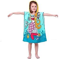 VSTON Kid Plage Serviette de Bain Sirène Baignade Baignoire Serviette Poncho Serviette Microfibre Enfants Bande Dessinée Peignoir À Capuche Séchage Rapide Plage Serviette de Bain