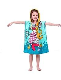 VSTON Bambini Bagno Asciugamano da Bath Mermaid Swimming Bath Asciugamano con Cappuccio Poncho Asciugamano Microfibra Kid's Cartoon Accappatoio con Cappuccio Asciugamano da Spiaggia