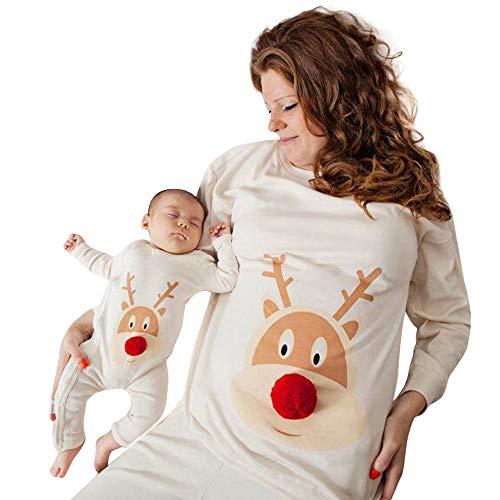 POLP Niño Mamá bebés bebés niños niñas Bola de Pelo Ciervo Mameluco Ropa Familiar Ropa Recién Nacido Bebe Pijamas de una Pieza Ropa de Dormir Madre e Hijo Mono Mamelucos