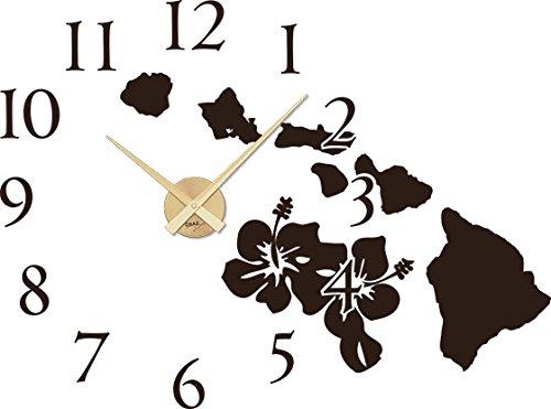 GRAZDesign Wanduhr groß Aufkleber Hibiskus Blüten - Wandtattoo Uhr mit Uhrwerk Hawaii - Uhren Wand Tattoo Welt Landkarte / 77x57cm / 800448_GD_080
