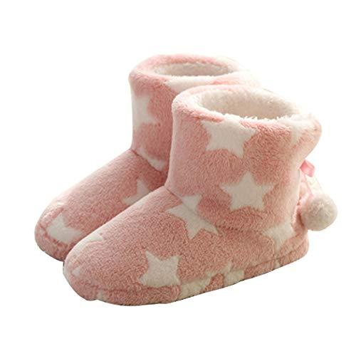 Summer mae donna pantofole inverno caldo stella pantofola con pom poms pink38/39 eu