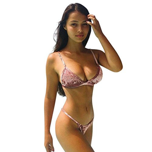 FEITONG Damen Push Up Bikini Samt Badeanzug Frau Push-up BH Bikini Set Triangel Zweiteilige (XL, Rosa) (Neckholder Streifen Bh-top)