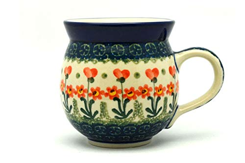 Polish Pottery Mug – 11 Oz. Bubble – Peach Spring Daisy