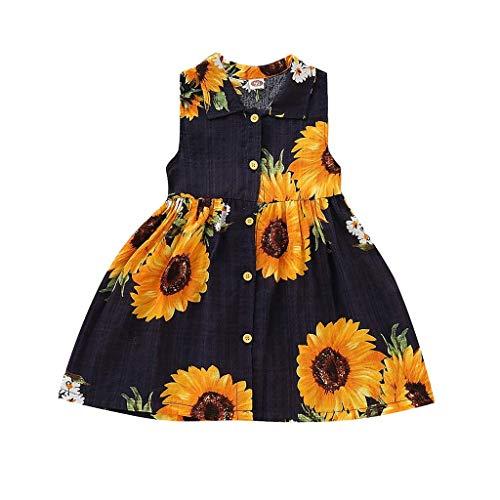 Kleider Kostüm Fancy Childrens - LENGIMA Kleinkind Baby Girls Sunflower Print Kleider Sleeveless Tutu Röcke Fancy Party Casual Beachwear Kostüm für 1-5 Jahre alt (Color : Black, Size : 100(Aged 18-24 Months))