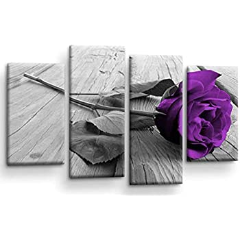 ABSTRACT FLORAL LOVE ART PICTURE BLACK WHITE GREY WALL CANVAS SPLIT 4 PANEL