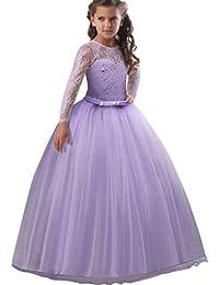 Vestito Principessa per Ragazza pizzo Abiti da Sera Matrimonio Damigella  d onore Tulle Maniche Lunghe f87c884fb6d