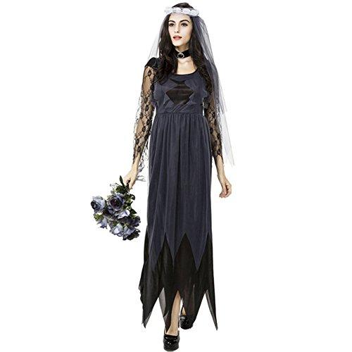 iShine Zombie Braut Kostüm Damen Vampir Cosplay Spiel Uniform Lange Kleid Langärmelig Spitze Halloween Klub Bar Party Performance Kostümball Theater Bühnenspiel (Kleid)