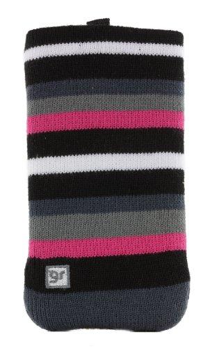 Glamrox GRMXSK5 Universal Smartphone-Reinigungs-Socke schwarz/rosa/weiß/grau gestreift -