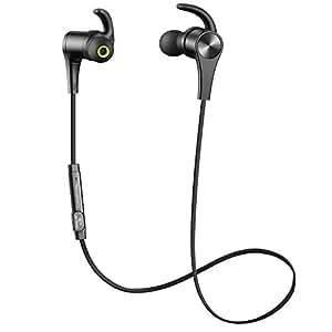 [Verbesserte Version] SoundPEATS Bluetooth Kopfhörer 4.1 Sport In Ear Kabellos AptX 8 Stunden Magnetisch mit Mikrofon Schweißfest geeignet für Jogging Fitness Workout Stereo Ohrhörer für iPhone Samsung und jedes andere Smartphone oder Bluetooth-Gerät ( Schwarz )