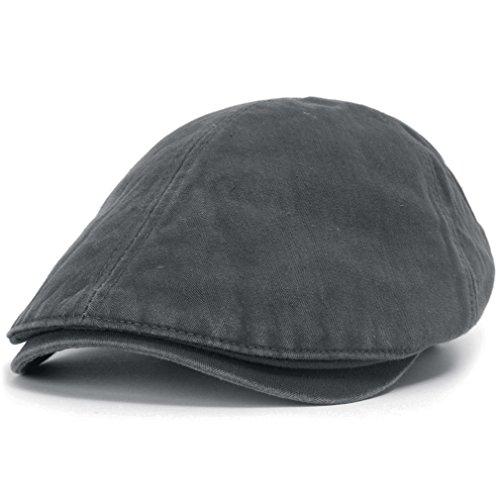 ililily Schirmmütze: auch Flat Cap genannt, besteht aus gewaschener Baumwolle, Cabbie (Chauffeurmütze), Gatsby/Ivy Stil, irische Golfermütze, Schiebermütze (One Size, Charcoal)