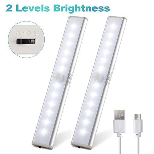 YISSVIC Bewegungsmelder Schrankleuchten Kleiderschrank Lampen wiederaufladbare Schrankbeleuchtung Kabinett Nachtlicht mit USB Ladenkabel (Verpackung MEHRWEG)