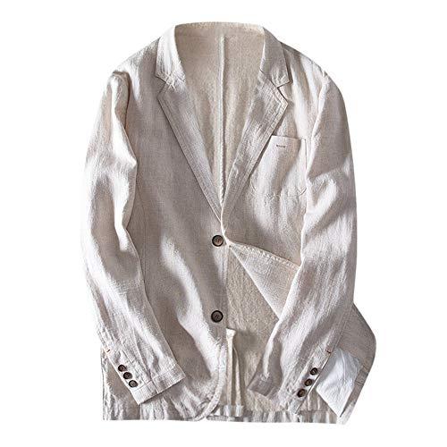Coconute Herren Slim Fit Leinenmischung Tasche Solide Langarm Anzüge Blazer Jacke Outwear Herren-Blazer Herren Blazer oder Sportjacke Lose Bequeme und weiche Herrenjacke(Blue,XXL)