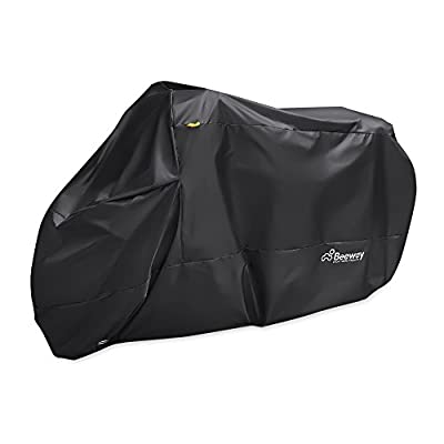 Motorbike Cover, Beeway® 190T Nylon Waterproof Motorcycle Cover - Anti Dust Rain UV Indoor Outdoor Protection with Lock-holes Storage Bag - Extra Large 240cm