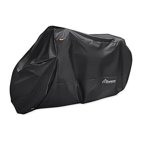 Housse de moto, Beeway® 190T Nylon étanche Housse de protection pour moto–Anti poussière pluie UV protection Intérieur Extérieur avec Lock-holes–Sac de Rangement Extra Large 240cm