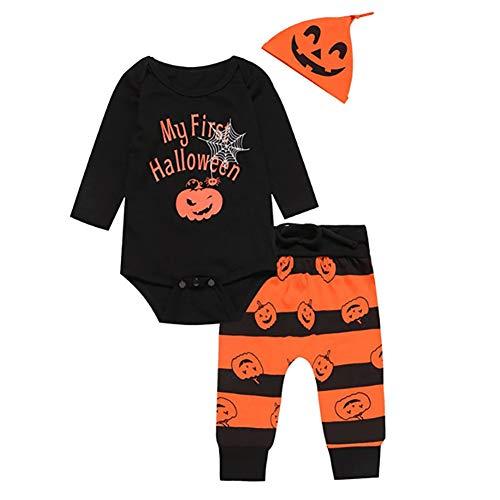 Halloween-Kürbis-Druck Nettes Kind-Baby-Junge-Kleidung Langarm-Spielanzug mit Hut und Hosen -