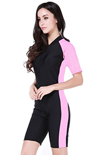 Damen Schwimmanzug Lang UV-Anzug UPF>50 Schutzkleidung Sunsuit Ganzk?rperansicht Badeanzug,  - Rosa-2 - M