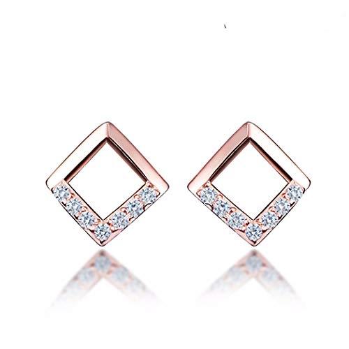 MTWTM Sterling Silber Ohrringe Ohrstecker Mini Wild Männlich Weiblich Diamond Drill Ohrringe, Rose Gold - Diamond Mini Drill