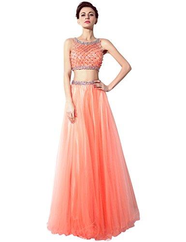 Sarahbridal Damen A-Linie Kleid Orange - Orange