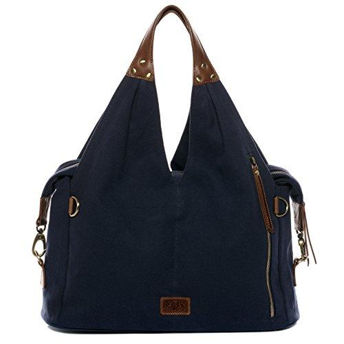 SID & VAIN® Wickeltasche RUBY - Damen Schultertasche XL groß Ledertasche - Baby-Tasche Damentasche echt Leder blau-braun
