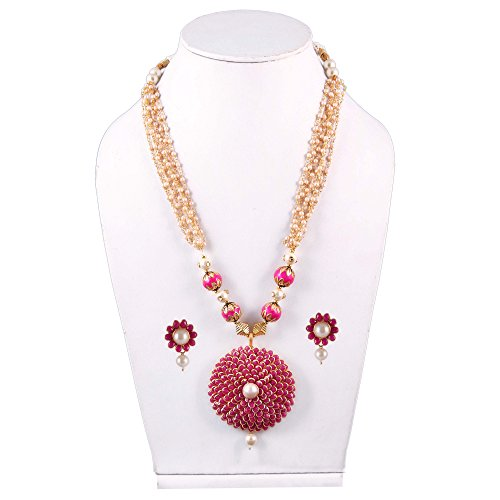 Simaya Fashionista Dark Pink Colour Pachi Pearls Fashionable Necklace Set With Tops...