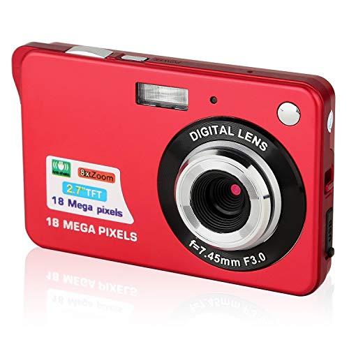 GordVEC Digitalkamera Kindertauglich Kamera Kompaktkamera HD 2,7 Zoll 18.0 Megapixel Mini Videokamera für Kinder (Rot)