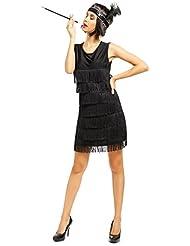 20er Jahre Fransen Flapper Kleider Fransenkleid Minikleid Tanzkleid Partykleid Charleston Kostuem kleid mit Kopfschmuck