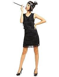 20er Jahre Fransenkleid Flapper Kleid Club Latein Tanz kleid Partykleid Minikleid Cocktailkleid Charleston Kostuem Kleid
